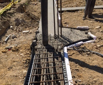 Concrete pour forming the foundation
