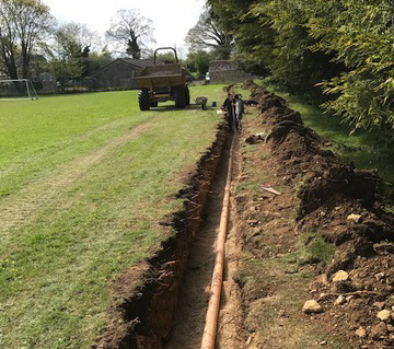 trench dug for pipe